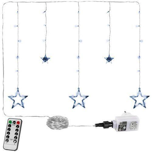 Voltronic ® Kurtyna na okno 5 gwiazd 61 diod lampki choinkowe zimna biel - 61 led / zimna biel (4048821770494)
