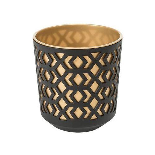 Doniczka plastikowa 25.5 cm czarno-złota AZTEK (5900119497928)