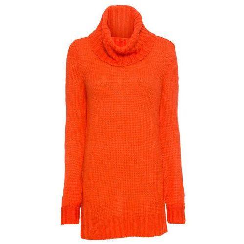 Sweter ze stójką pastelowy jasnoróżowy - złoty marki Bonprix