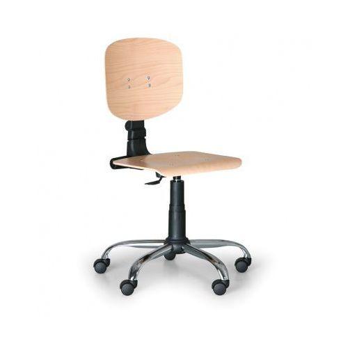 B2b partner Drewniane krzesło pracownicze - stalowy krzyż, kółka