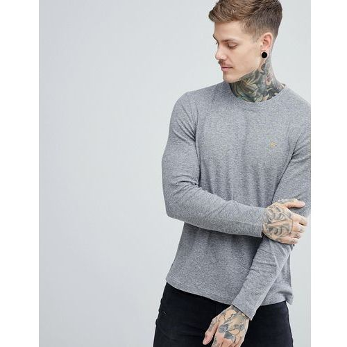 Farah Lesser Slim Fit Waffle Textured Long Sleeve Top in Grey - Grey, kolor szary