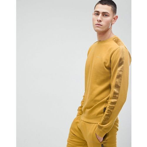 crew neck sweat with satin arm stripe - gold, D-struct