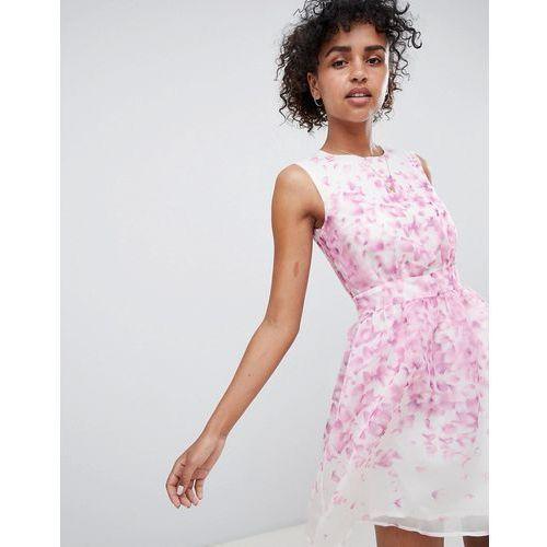 QED London Floral Skater Dress - White