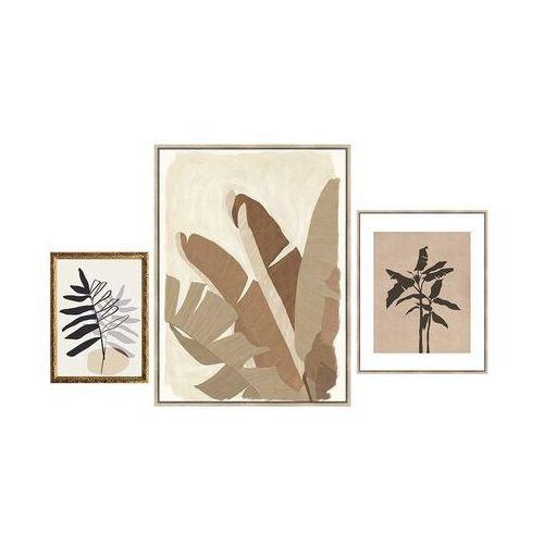 Zestaw 3 obrazów w ramie BROWNY – 30 × 40 cm, 60 × 80 cm, 40 × 50 cm – kolor brązowy, beżowy i różowy