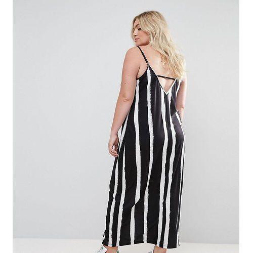 maxi dress with v back in blurred stripe - multi, Asos curve