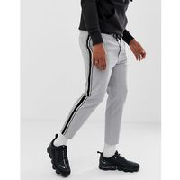 Bershka trousers in grey with side stripe in straight fit - Grey
