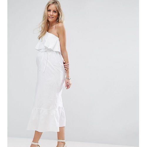 maxi dress with one shoulder - white marki Asos maternity