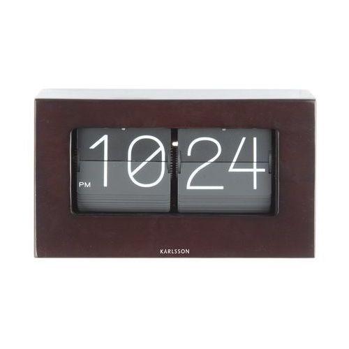 Zegar stołowo/ścienny flip clock boxed dark wood by marki Karlsson