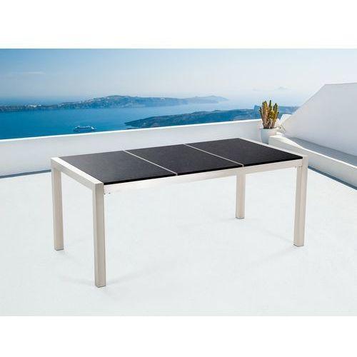 Stół czarny polerowany ze stali nierdzewnej 180cm kamienny blat dzielona płyta GROSSETO (7081452800403)