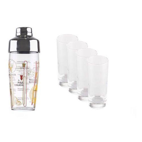 LUMINARC Komplet do drinków. 4 szklanki 330 ml plus shaker