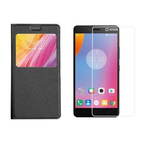 Zestaw | Flip Leather Czarny | Etui z klapką + szkło ochronne Perfect Glass dla Lenovo K6 Note, kolor czarny