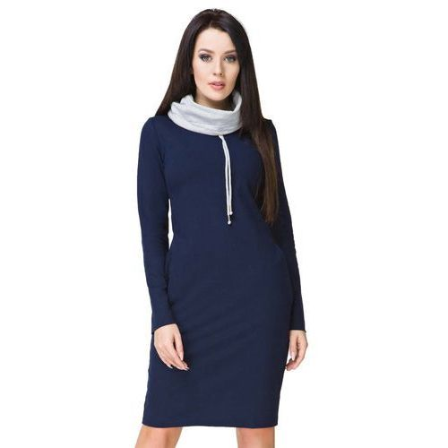 Granatowa Sportowa Sukienka z Kominem, kolor niebieski