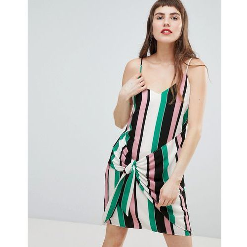 knot side stripe cami dress - pink marki River island
