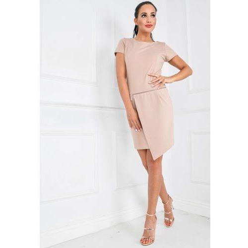 Asymetryczna sukienka z krótkim rękawkiem i zamkiem, asymetryczna