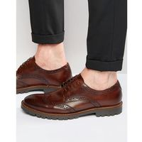 Base london trench leather derby brogue shoes - brown
