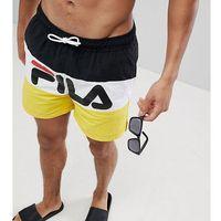 Fila Black Line Swim Shorts With Panel Logo In Black - Black, szorty