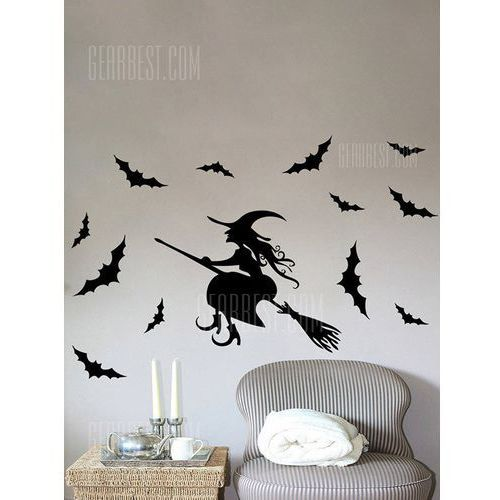 Gearbest Halloween witch bats removable bedroom wall decals