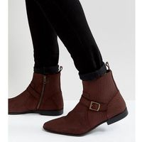 ASOS Wide Fit Chelsea Boots In Burgundy Suede With Buckle Detail And Zips - Red
