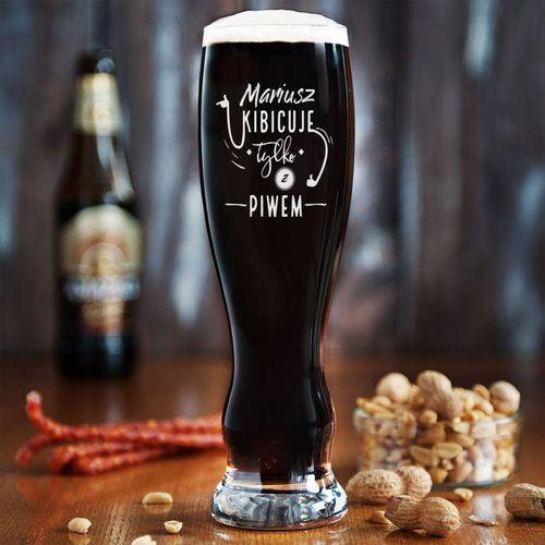 Kibicuje tylko z piwem - Grawerowana Szklanka do piwa - Szklanka do piwa