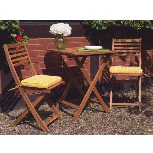 Zestaw mebli balkonowych jasne drewno z poduszkami żółtymi FIJI (4260580926480)