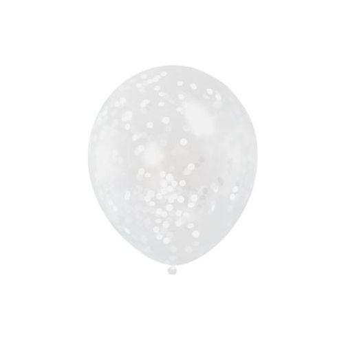 Unique Balony przezroczyste z białym konfetti w środku - 30 cm - 6 szt.