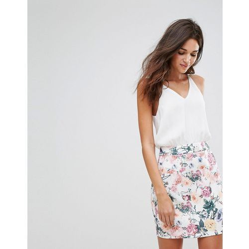 AX Paris Mini Floral Skirt Dress With Cream Top - Cream, kolor beżowy