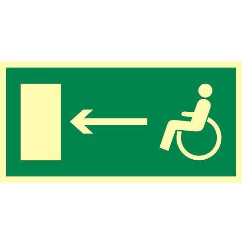 Top design Kierunek do wyjścia drogi ewakuacyjnej dla niepełnosprawnych w lewo