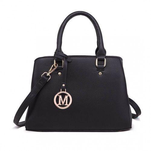 Czarna, klasyczna torebka na ramię czarny, kolor czarny