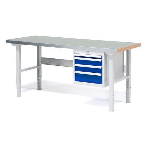 Stół warsztatowy SOLID, zestaw z 4 szufladami, 500 kg, 1500x800 mm, stal