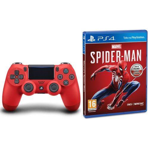 dualshock 4 v2 (czerwony) + marvel's spider-man marki Sony
