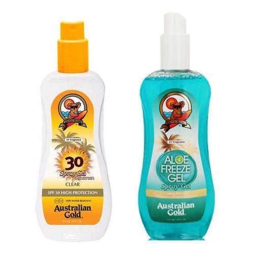 Australian gold spf 30 spray gel and aloe freeze spray | zestaw do opalania: spray do opalania 237ml + chłodzący spray po opalaniu 237ml