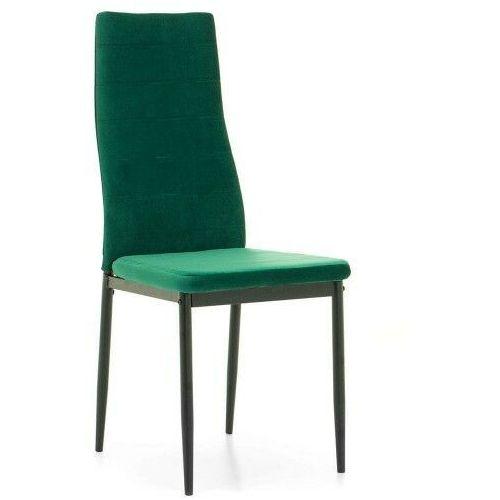 Krzesło tapicerowane - k1 - wzór pasy, welur zielony, nogi czarne - 1 szt marki Emwomeble