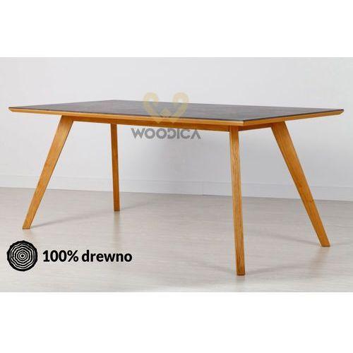 Woodica Stół dębowy 21 / blat konglomerat kwarcowy dekton 180x75x90