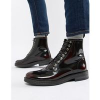WALK London Wolf lace up boots in high shine burgundy - Red