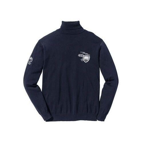 Sweter z golfem Regular Fit bonprix ciemnoniebieski, 1 rozmiar