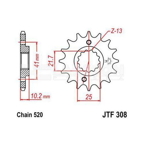 Zębatka przednia JT F308-15, 15Z, rozmiar 520 2200018 Honda NX 650, Yamaha MT-03