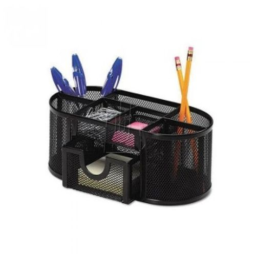 Q-connect Przybornik na biurko office set, metalowy, z szufladką, czarny