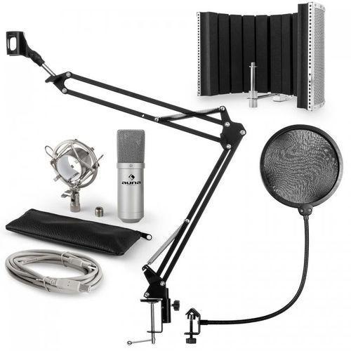 Auna Mic-900s usb zestaw mikrofonowy v5 mikrofon pop filtr osłona mikrofonu ramię srebrny