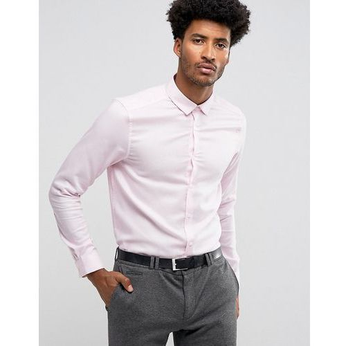 ASOS Premium Formal Regular Fit Royal Oxford With Easy Care Finish In Pink - Pink