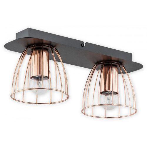 Lemir reda o2682 p2 cza plafon lampa sufitowa 2x60w e27 czarny mat / miedź
