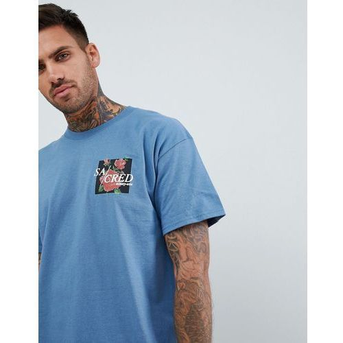 boohooMAN Oversized T-Shirt With Scared Rose Print In Blue - Blue, kolor niebieski