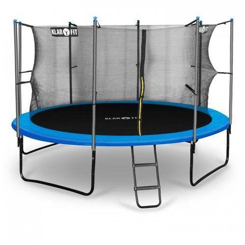 Klarfit rocketboy 366 trampolina 366cm siatka bezpieczeństwa wewnątrz, szeroka drabinka, niebieska