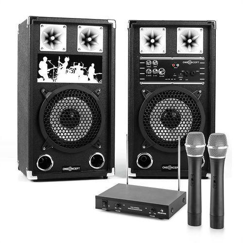 Zestaw karaoke 2 kolumny nagłośnieniowe 2 mikrofony bezprzewodowe marki Elektronik-star