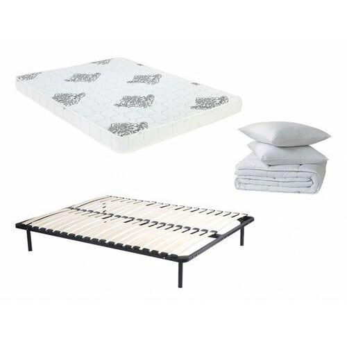 Zestaw do spania jovial 140x190 cm - rama listewkowa + materac piankowy + kołdra + 2 poduszki marki Dreamea