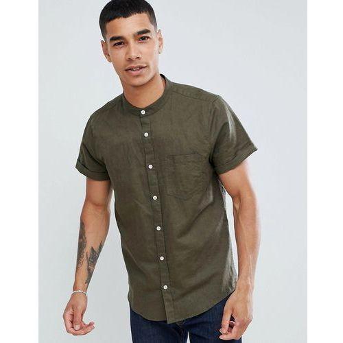 Pull&Bear short sleeved grandad collar shirt in khaki - Green, w 2 rozmiarach