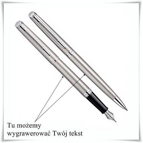 Zestaw Waterman Hemisphere Stalowy CT wieczne pióro i długopis z opcją graweru z kategorii Na imieniny dla męża