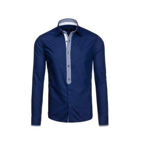 Granatowa koszula męska elegancka z długim rękawem Bolf 6873, kolor niebieski