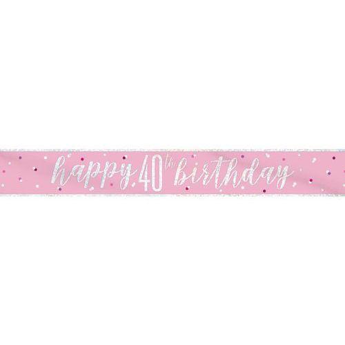 Unique Baner happy birthday różowy na 40 urodziny - 274 cm - 1 szt.