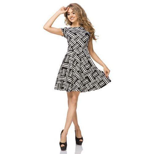 Tessita Czarno biała sukienka wzorzysta rozkloszowana z mini rękawkiem