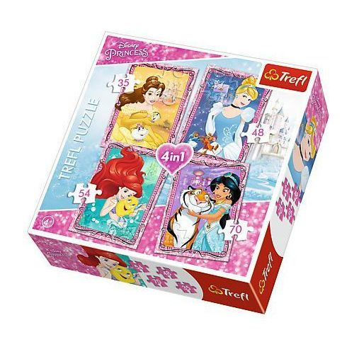 Trefl Puzzle 34256 4w1 księżniczki z przyjaciółmi